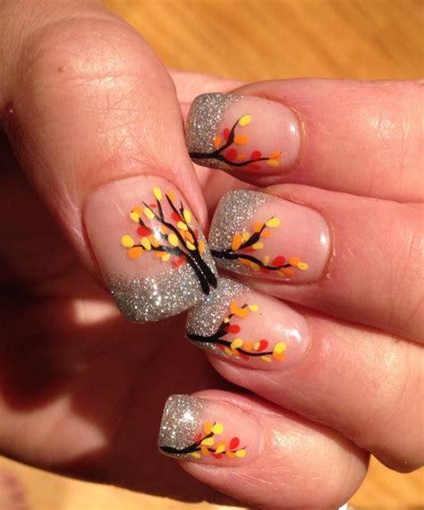 leaf pattern nails girly diy silver glitter nails leaf stickers ideas 2014