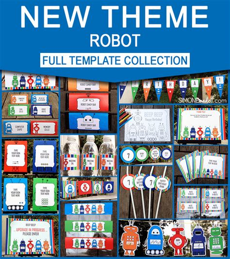 free printable robot party decorations printable robot invitations birthday party collection new