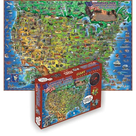 usa map floor puzzle usa map 500 pc illustrated floor puzzle educational toys