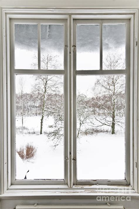 window coverings for winter window and view winter landscape photograph by