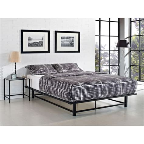 metal platform bed parsons queen metal ledge platform bed black walmart com