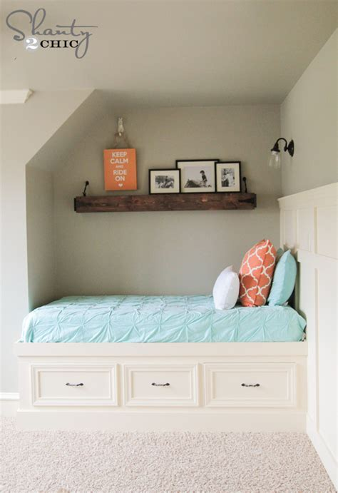built in bed diy built in storage bed shanty 2 chic