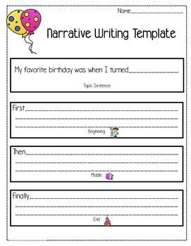 Narrative Writing Template My Favorite Birthday Computer