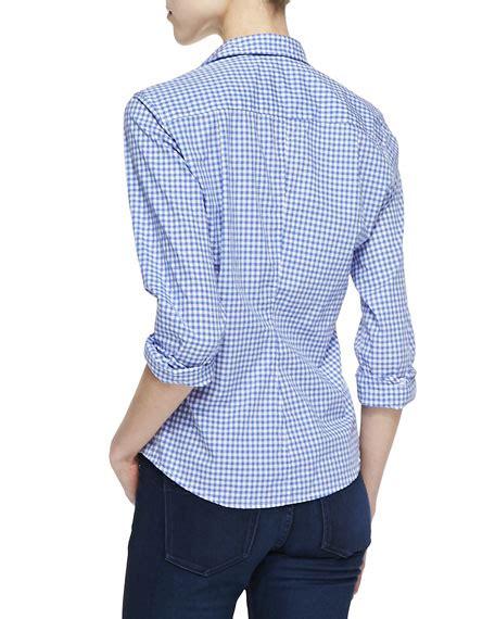 Frank Blue Blouse frank eileen barry gingham button blouse blue white