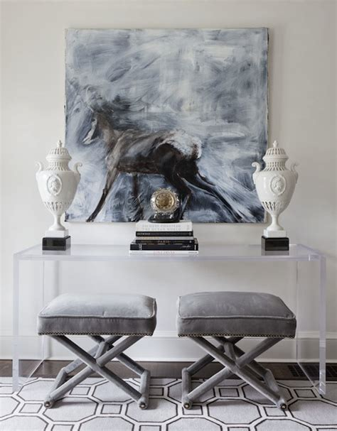 console table with ottomans underneath lucite console table contemporary entrance foyer
