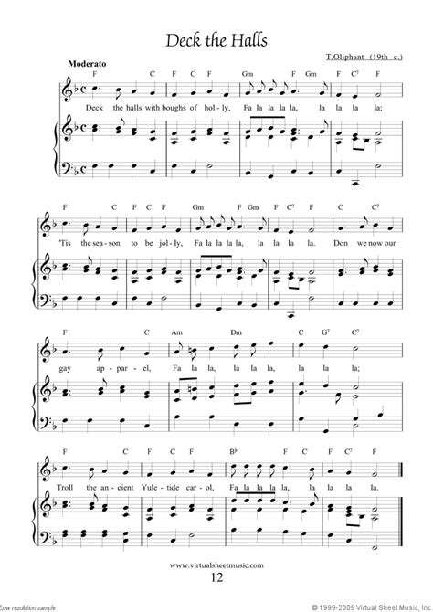 printable lyrics for deck the halls free deck the halls sheet music with lyrics and mp3 audio