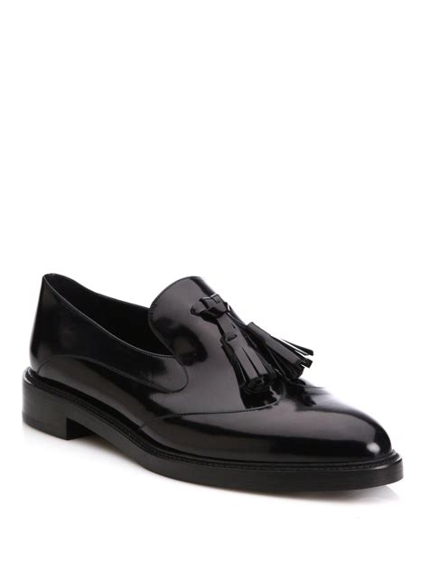 burberry loafers sale lyst burberry halsmoor patent leather tassel loafers in