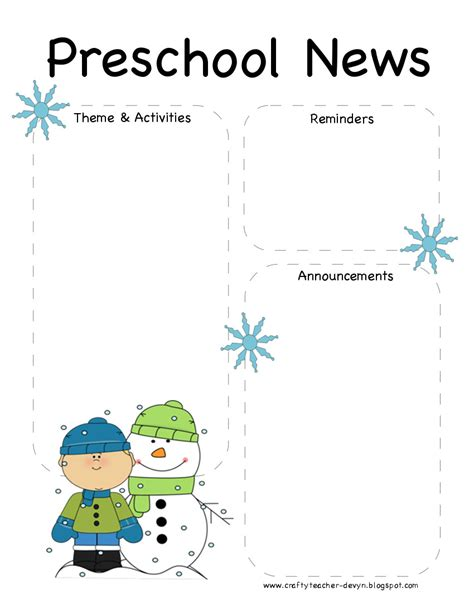 preschool newsletter templates the crafty preschool winter newsletter template