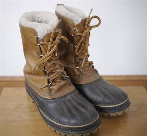 mens leather winter boots canada vintage kaufman sorel scout wool fleece lined leather snow