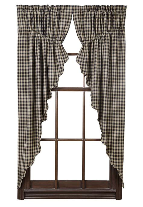 black and khaki curtains black check scalloped prairie curtain set rustic primitive