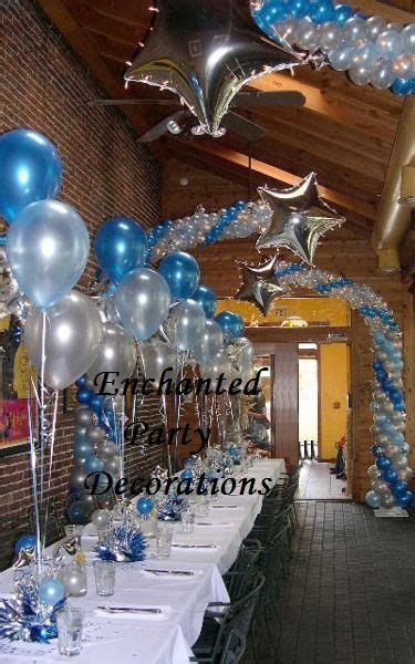 royal blue, white and silver decorations for 25