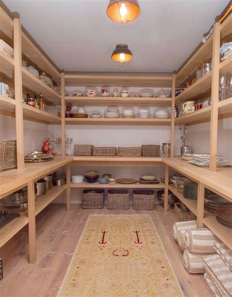 interesting pantry shelf construction larger shelves below practical bench food storage