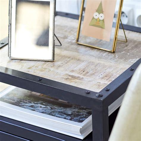 metal table with drawers tikamoon industriel metal bedside table with 2 drawers