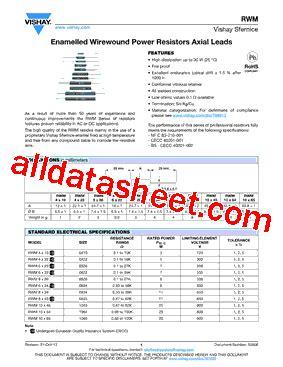 all resistors datasheet rwm08261002fr15ad7e1 datasheet pdf vishay siliconix