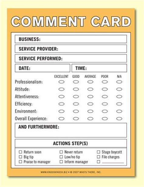 customer card template 10 best images about comment cards on