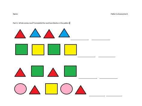 pattern sequence exles summative assessment primary patterns
