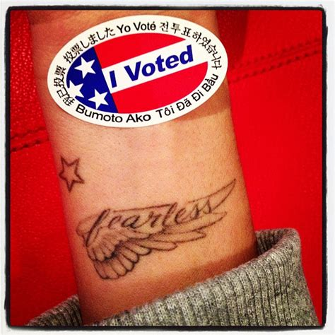ashley tisdale tattoo tisdale displayed quot i voted quot pin above