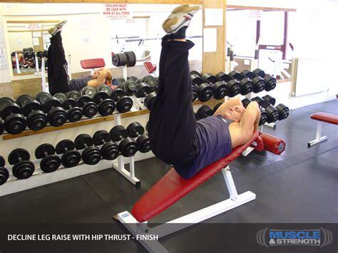decline bench leg raises decline leg raise with hip thrust video exercise guide tips