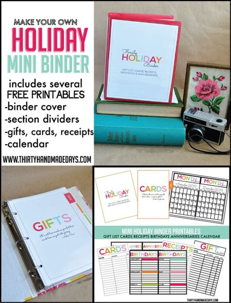 free printable planner supplies holiday mini binders printables included office