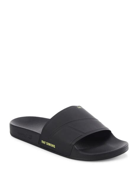 Adidas Rubber Black adidas by raf simons raf adilette rubber slides in black for lyst