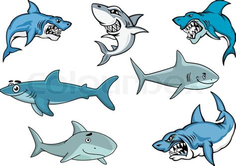 baby shark vector cartoon sharks with various expressions from fierce and