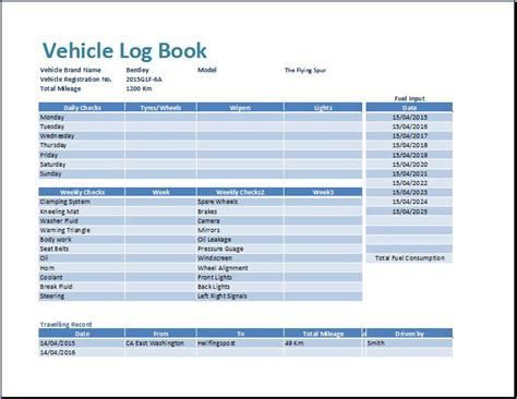 template of vehicle log book ms excel vehicle log book template word excel templates