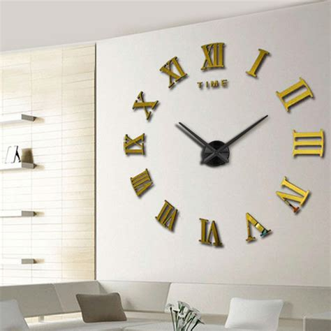 large home decor diy large 3d wall clock mirror sticker metal watches