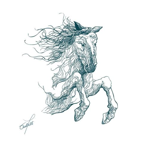 curvy lines horse tattoo sketch best tattoo designs