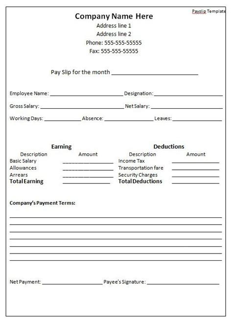 payroll payslip template pay stub templates free premium templates