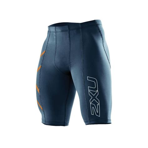 Compression Shorts 2xu mens compression shorts navy torch orange
