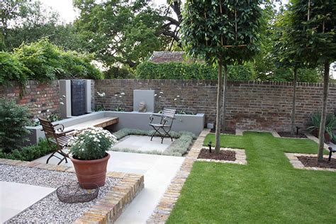 backyard layout multi level linear garden hertfordshire designed by kate