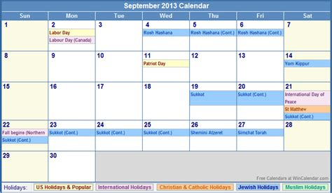 Calendar September 2013 September 2013 Calendar With Holidays As Picture
