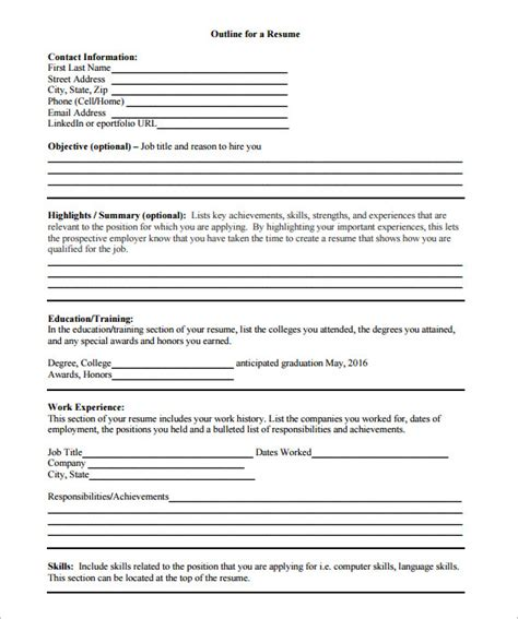 Outline Of A Resume by Resume Outline Template 12 Free Sle Exle Format