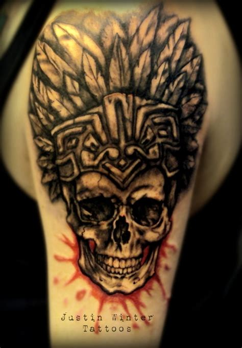 aztec warrior skull tattoo designs aztec skull tat ideas aztec skulls