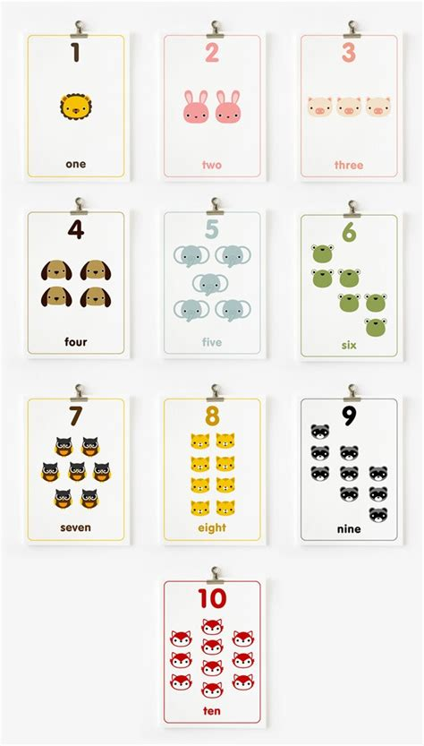 Cute Printable Number Cards | children decor count the numbers flashcards 1 10 in