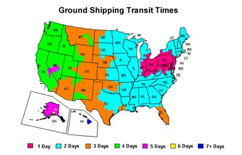 california cground map shipping times and costs