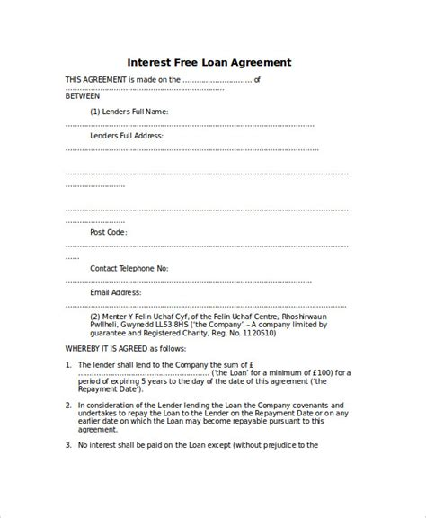 simple interest loan agreement template loan agreement template 9 free word pdf document