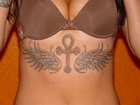 big tattoos for females large winged ankh on stomach for