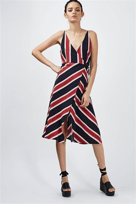 Dress Stripes stripe wrap slip dress dresses clothing topshop