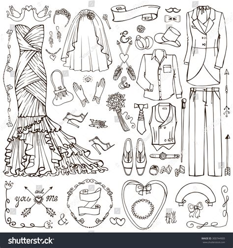 doodle design draw fashion wedding fashion dress weardecor elementsdoodle stock