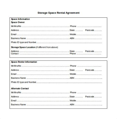 storage rental agreement template agreement template 20 free word pdf documents
