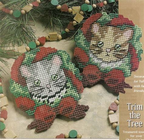 meowy christmas ornaments plastic canvas pattern