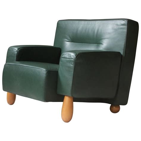 Green Leather Armchair by Moroso For Vitra Inc Green Leather Armchair With Turned