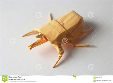 Origami Bug - orange origami bug stock photo image 44436534
