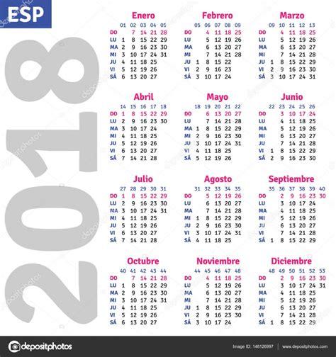 Calendario De 2018 Completo Espa 241 Ol Calendario 2018 Vector De Stock 148126997