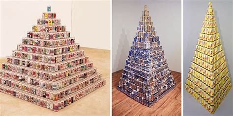 can sculpture packaging sculpture pyramids of cans