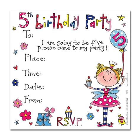 Girl S 5th Birthday Party Invitation Cards Party Invites Party Ark 5th Birthday Invitation Templates