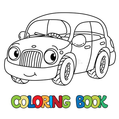 funny small cars funny small car with eyes coloring book stock vector