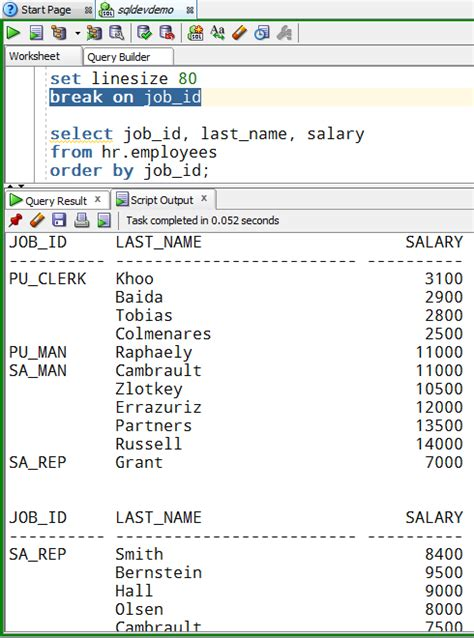 display oracle sql output rows on one single line how to format your script output in sql developer by default