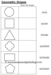 Worksheets for geometric shapes printable montessori math materials